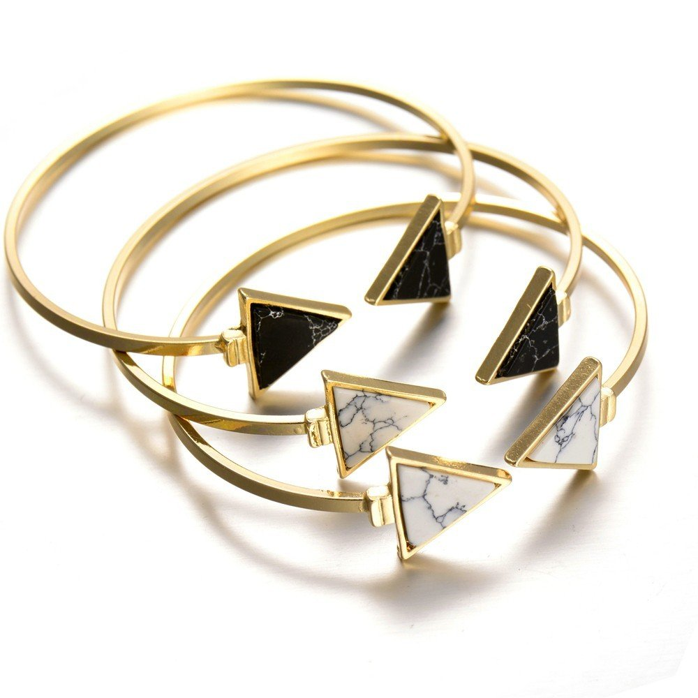 BOBIJOO Jewelry - Bracelet Jonc Marbre Triangle Noir Blanc Doré à l'or Fin Manchette