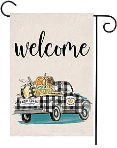 MFGNEH Farm Fresh Pumpkins Truck Welcome Double Sided Waterproof Fall Decor Garden Flag Buffalo Check Plaid Burlap Yard Banner Lawn Outdoor Fall Decoration 12 x 18 Inch,Autumn Decor Garden Flag