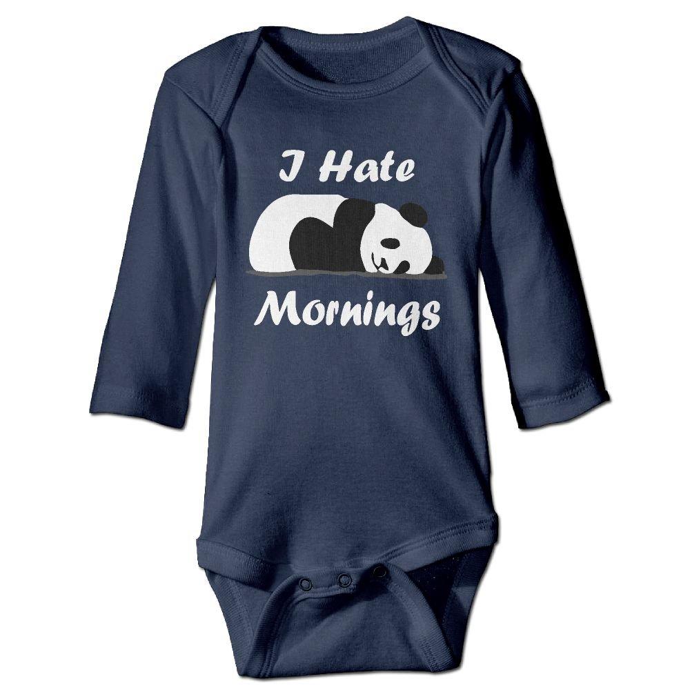 NEWBABY I Hate Mornings Panda Newborn Baby Long Sleeves Triangle Romper Bodysuit for 6-24m Baby