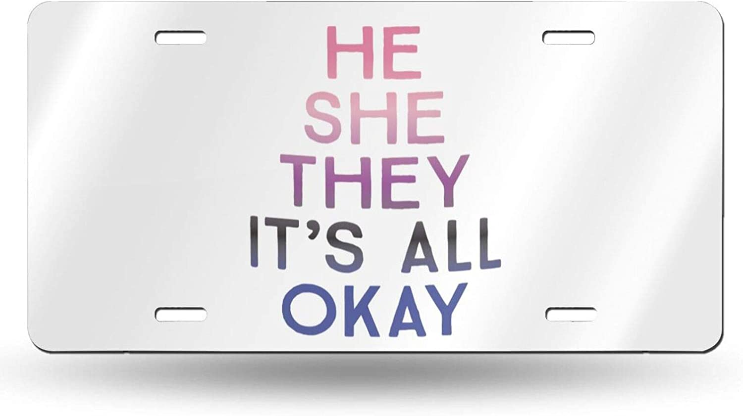 Amazon Com Filican He She They It S All Okay Novelty License Plate Cover Vanity Metal Tag For Front Of Car 6 X 12 Inch Sports Outdoors What data will you learn from our reports? amazon com