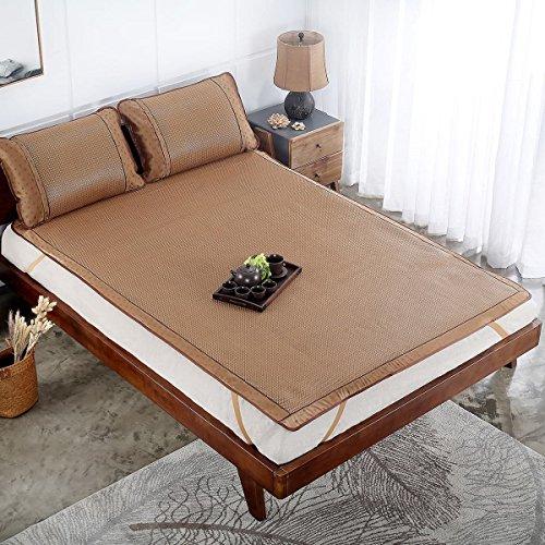 Rattan Bedding Set - Qbedding Rattan Cooling Summer Sleeping Pad Mattress Topper & Pillow Shams Set (King, Plaid)
