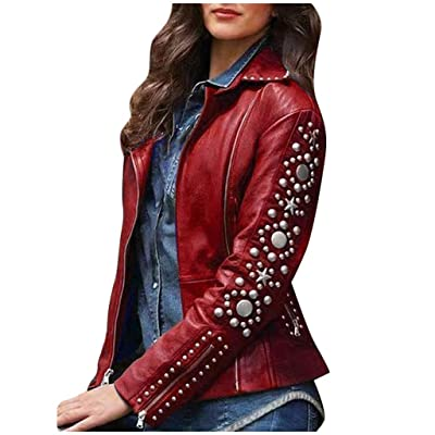 ZYAPCNGN Women Lapel Zip Jacket Long Sleeve Warm Coat Plus Size Studs Short Outerwear Classic Ladies Coat Outwear Coat: Clothing