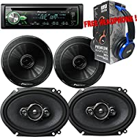 Package - Pair of Pioneer TS-G1645R 6-1/2 2-way 250W + Pair of Pioneer TS-A6886R 6x8 4-way 350W Car Speakers + Pioneer DEH-X4900BT Single-DIN In-Dash Bluetooth CD Receiver + Free EBH700 Headphone