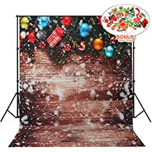 Christmas Backdrops with Photo Booth Props, MeeQee 5X7ft Photography Backdrop Christmas Ball Snowflake Wooden Wall Pictorial Cloth Customized Photography Background Studio Prop, MQ-CH3