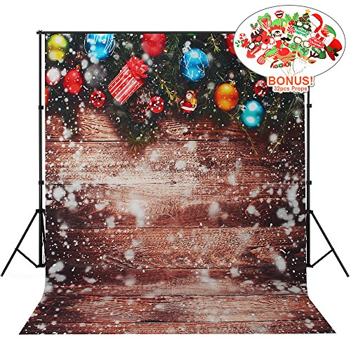 Christmas Backdrops with Photo Booth Props, MeeQee 5X7ft Photography Backdrop Christmas Ball Snowflake Wooden Wall Pictorial Cloth Customized Photography Background Studio Prop, MQ-CH3 ()