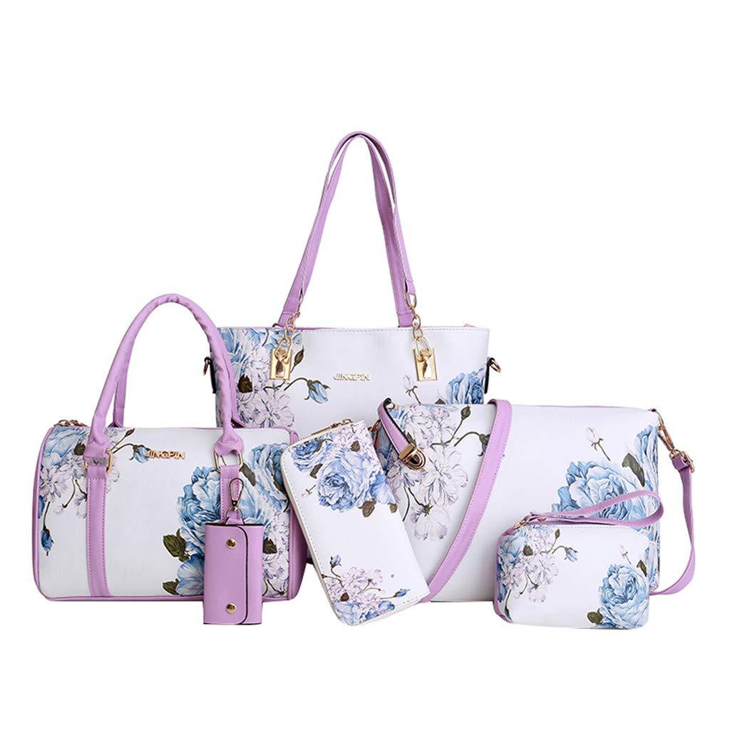 6 Pcs Package, AgrinTol Fashion Leather Shoulder Crossbody Bag Handbag Phone Bag for Women Girls (Purple) by Agrintol_Fashion Bags