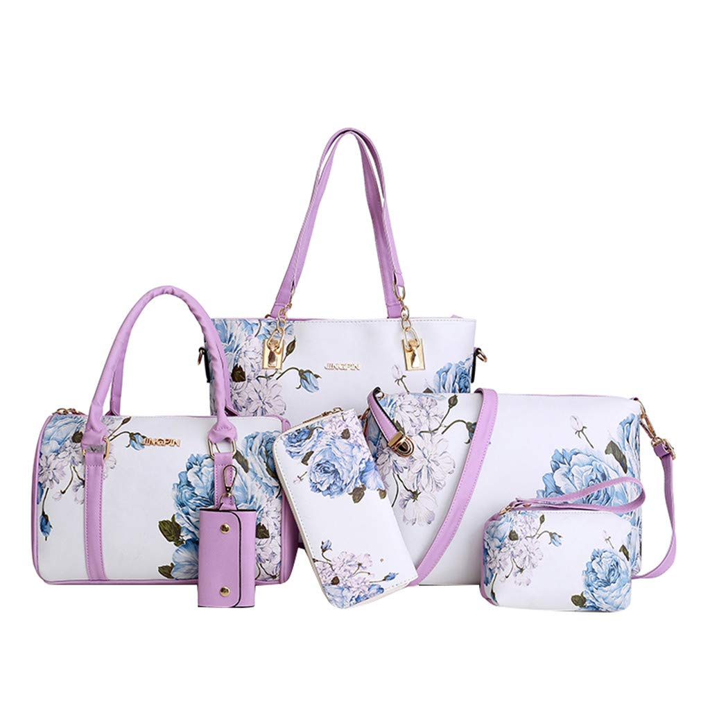 Womens 6Pcs Bag, Fashion Leather Shoulder Crossbody Bag Handbag Phone Bag for Women Girls ❤️Sumeimiya Purple