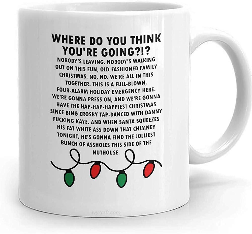 Vacaciones de Navidad Nadie se marcha Discurso Taza divertida Regalo Película Taza de café Oficina Divertido 11oz