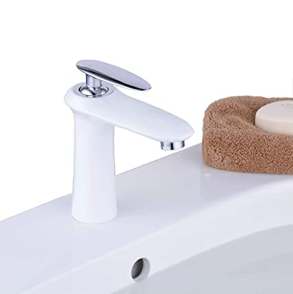 Bathroom Sink Faucets Modern Bathroom Basin Mixer Tap Single Hole One  Handle Unique Design, Painted White Finshed, BL6681     Amazon.com
