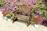 Rustic Wooden Wagon Wheel Design Junior Outdoor Bench / Loveseat Chair Product SKU: PF06110
