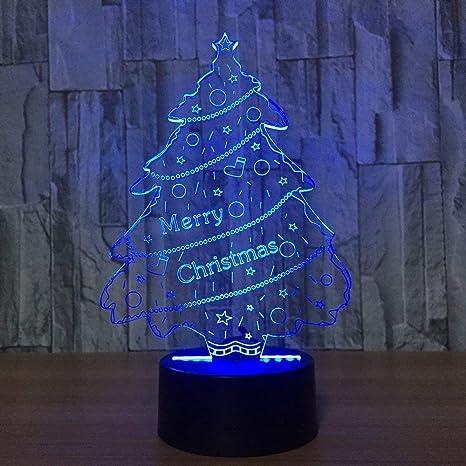 4586b2641d1 3D Ilusión Optica Arbol de Navidad Luz Nocturna 7 Colores Cambio de Botón  Táctil USB de