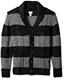 Dockers Men's Big and Tall Shawl Collar Button Front Cardigan, Black, Medium