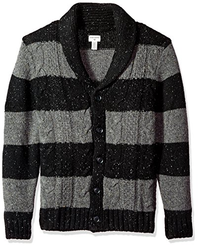 Dockers Men's Big and Tall Shawl Collar Button Front Cardigan, Black, Large Shawl Collar Button Front
