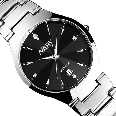 Xinantime Relojes Hombre,Xinan Calendario Cuarzo Acero Inoxidable Relojes Fecha (Negro)