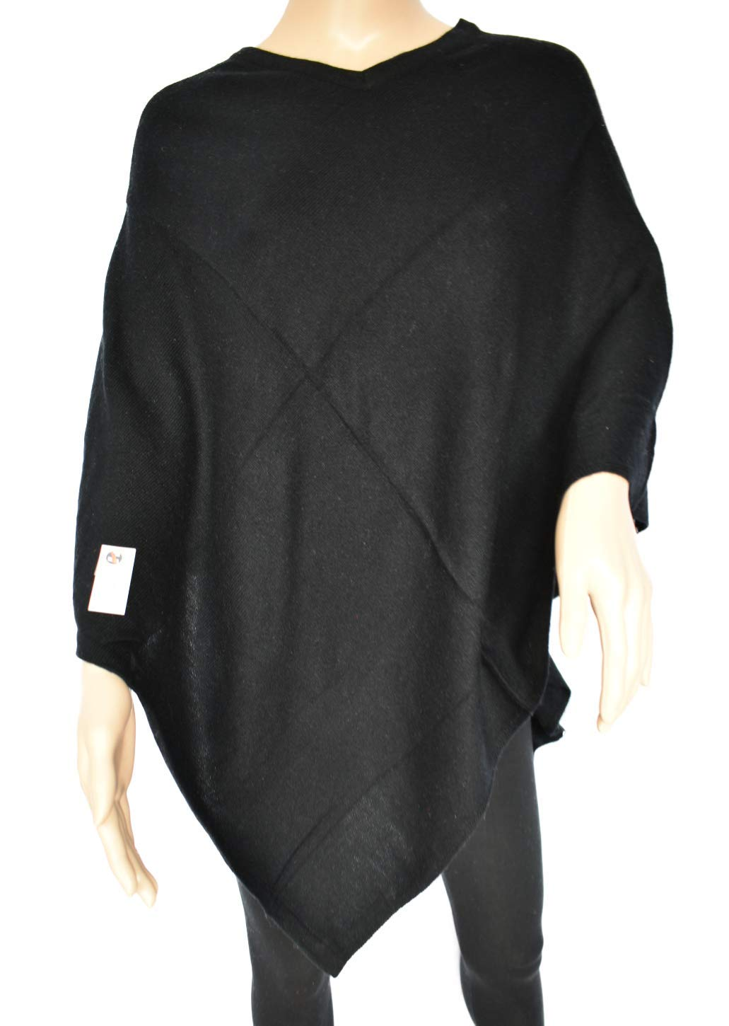 Exclusive Cashmere Poncho -Royal Blue Color Cashmere - Handmade in Nepal (Black)