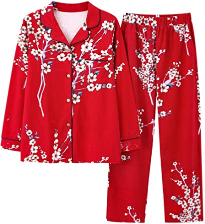 Pareja Pijama algodón Mujer Manga Larga Boda Novia algodón Hombre Festivo Servicio a Domicilio Traje-Rojo_A_Womens_XL: Amazon.es: Hogar