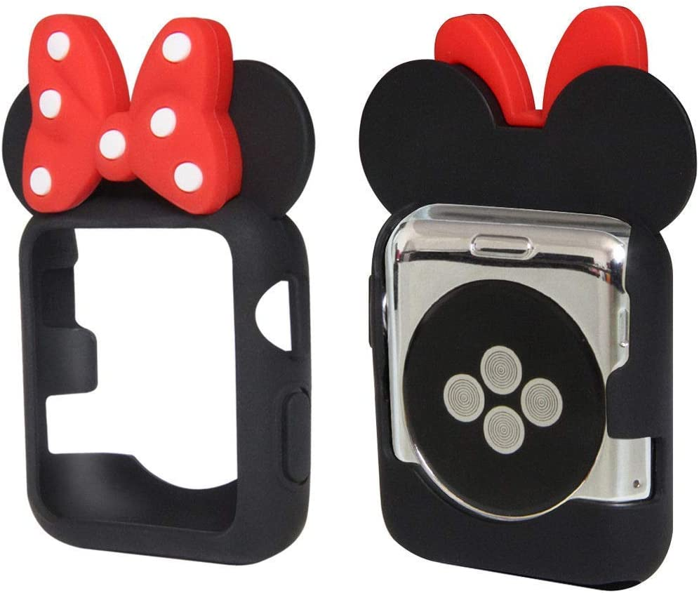 Tech Express 3D Mouse Ears Cartoon Character Case Polka Dot Bow Corner & Edge Compatible with Apple Watch [iWatch] Series 1, 2 & 3 Colorful Flexible TPU Cover Accessories (Black, 42mm)