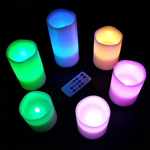 DRomance Flameless Color Changing Candles with Remote and Timer, Real Wax LED Flickering Multi Color Candles for Romantic Decoration Set of 6, 3 x 3-6 Inches