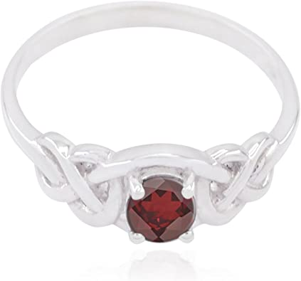 Home /& Living Good Selling Shops Gift for Christmas Day Statement Jewelry Genuine Gems Round Faceted Garnet Ring Solid Silver Red Garnet Genuine Gems Ring