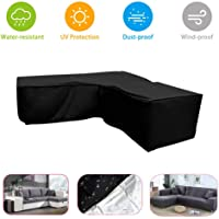 Q&Z Outdoor Garden Furniture Cover Patio L-Shaped Sofa Covers Waterproof 210D Oxford Fabric Windproof Dust Proof Protective Protector for Backyard Indoor Sofas Furnitures