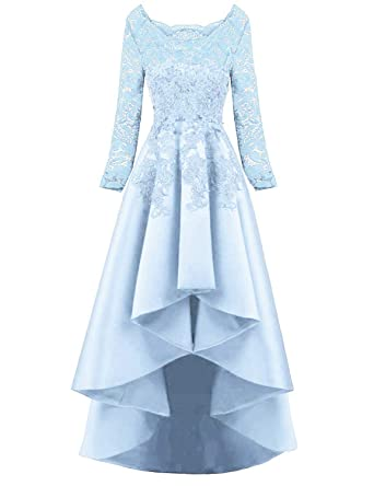 3de68cb1dd NOVIA Women's Short Fornt Long Back Scoop Lace Prom Homecoming Dresses Long  Sleeves Beaded A line