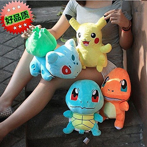 [4PCS Pokemon Plush Toys Pikachu Bulbasaur Squirtle Charmander Action Toy Set New] (Quick Costume Ideas For Guys)