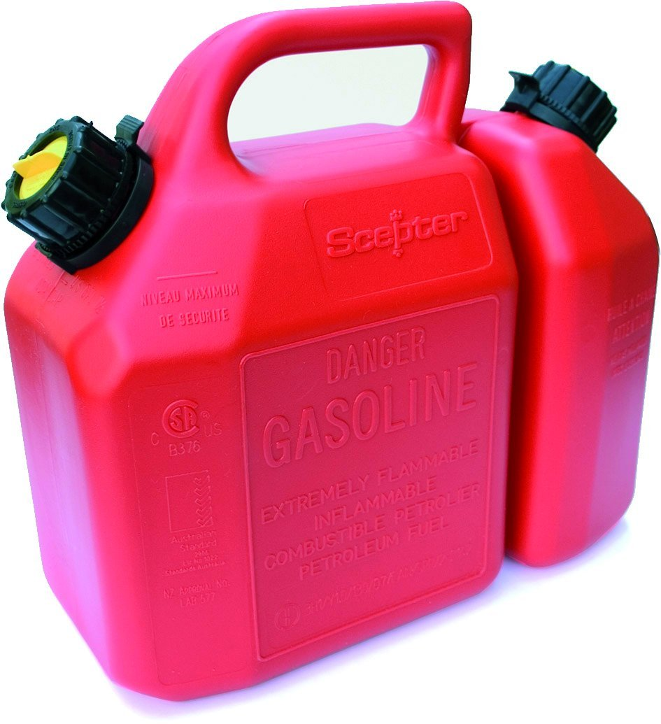 Scepter 6 Liter Gas Can and 2.5 Liter Oil Can Combo, Red B62