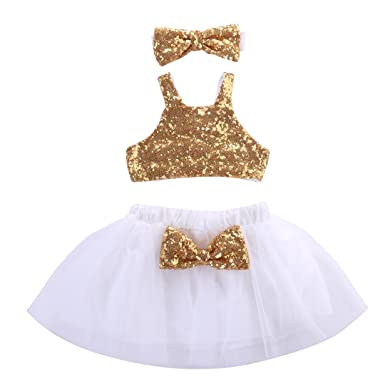 Toddler Baby Girls Gold Sparkle Sequins Design Tops Tutu Skirt And 3 Pcs Outfit Set