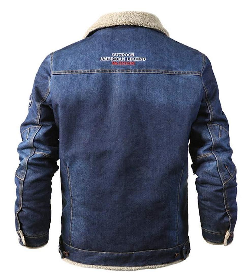 Lutratocro Men Long Sleeve Sherpa Coat Outer Wear Outerwear Denim Leisure Lapel Jacket