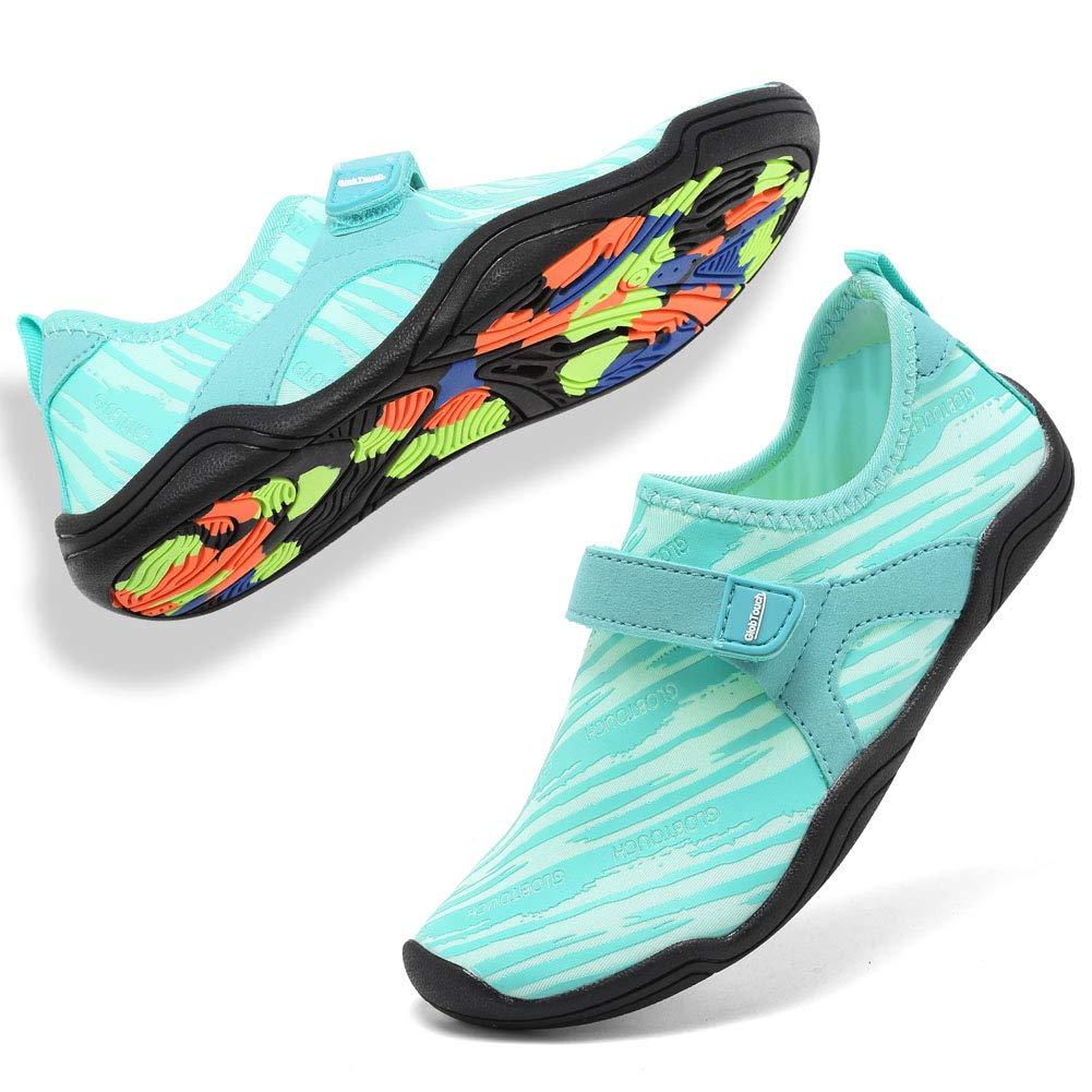 GLOBTOUCH Boy and Girls Athletic Water Shoes Quick-Dry Slip on Aqua Sock for Beach Pool Swim Surf Walking(Toddler/Little Kid/Big Kid) DKSX-M.Light blue-34