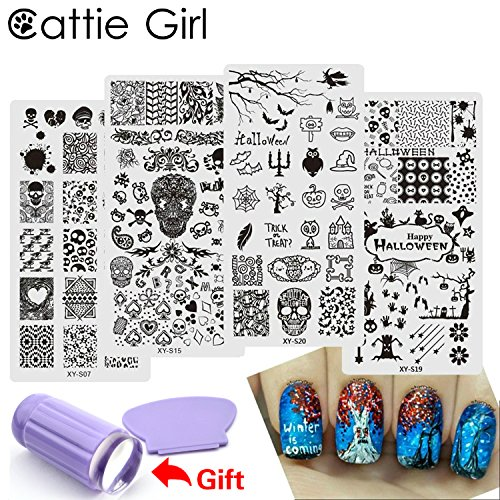 Cattie Girl 6pcs Halloween Stamping Plates Clear Jelly Silicone Stamper Tool Set Zombie Pumpkin Stamping Plate with Nail Scraper Kit