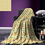smallbeefly Sunflower Digital Printing Blanket Floral Nature Pattern in Patchwork Style Rustic Country Design Summer Quilt Comforter Yellow Orange Olive Green