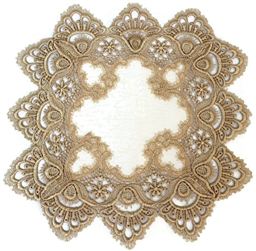 Square Doily or Place Mat in Gold European Lace and Antique Fabric, Size 15 (Gold Antique Table Lamp)