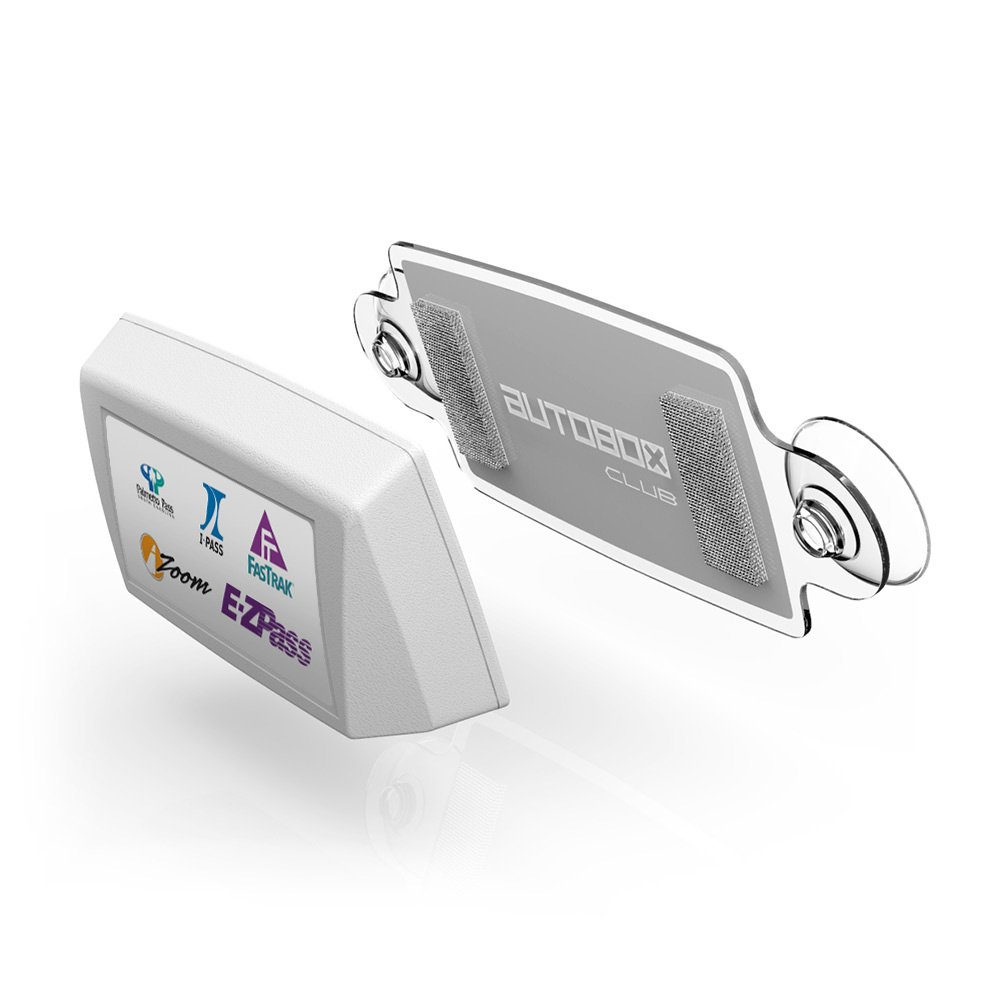 New EZ Pass AutoBoxClub PAW IPass Tag Holder//Transponder Holder//Toll Pass Windshield Mount//Genuine Reclosable Mounting Strips Included//UV-Protective//Installs in Seconds