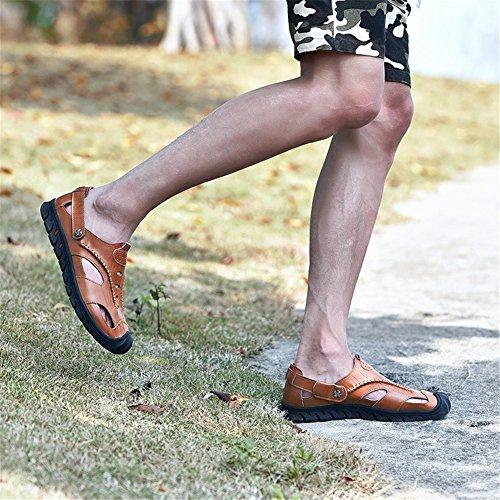 Scarpe pelle nero uomo in Pulsante Comfort Casual estate escursionismo per Sandali kaki da Outdoor B Primavera marrone atletica rUpnrw