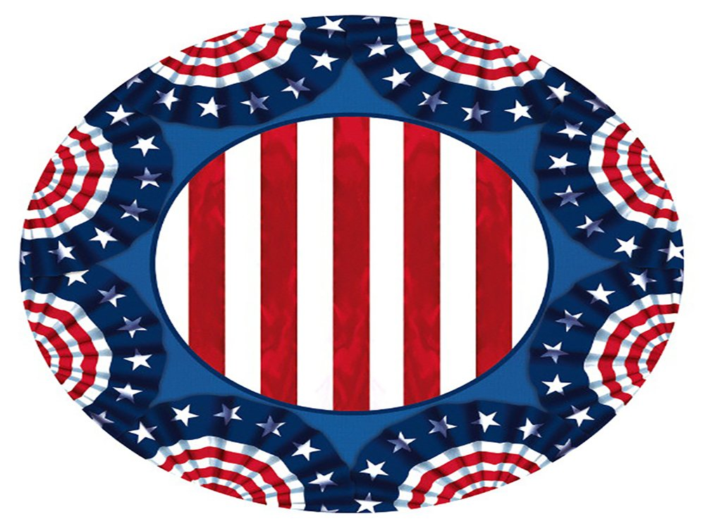 Amscan American Pride Lunch Plates Patriotic 4th of July Disposable Paper Round 9'' Pack 60 Party Supplies , 360 Pieces by Amscan