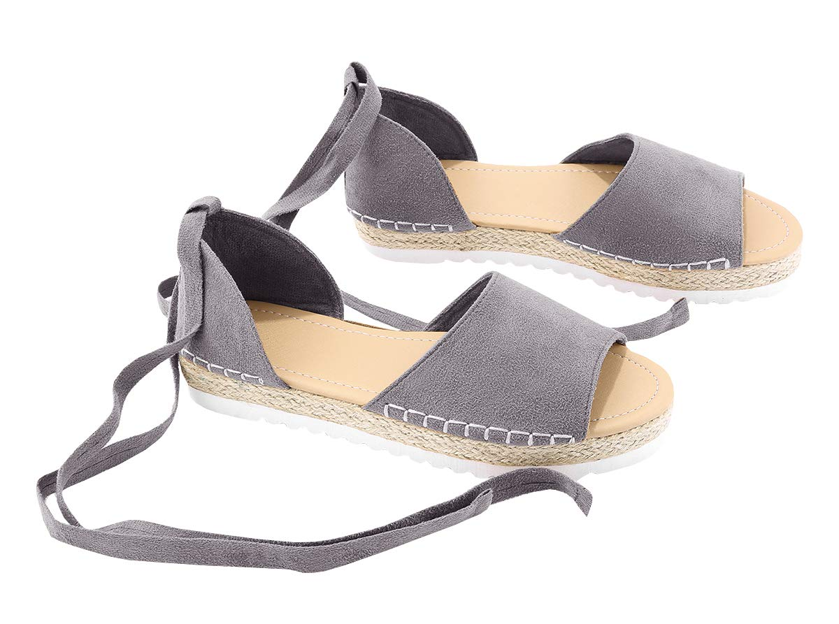 FISACE Womens Summer Espadrille Ankle Strap Flat Sandals Peep Toe Flip-Flop Shoes (B(M) US 9 | 40, Grey)
