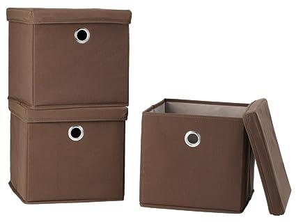 STORAGE MANIAC Canvas Storage Box With Lid, Folding Lidded Storage Box With  Built In