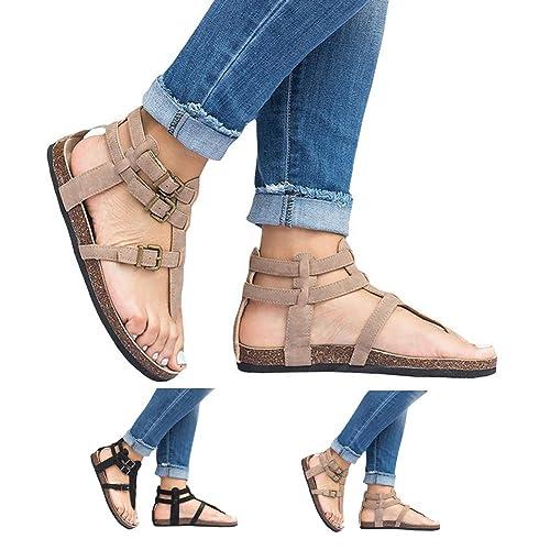 Bigtree Casuales Zapatos con Hebilla para Unisex Adulto, Zuecos Cruzar Correas Zapatillas para Mujer Sandalias Plano de Verano: Amazon.es: Zapatos y ...