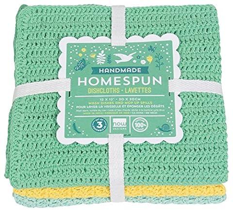 Now Designs Homespun Crocheted Dishcloths, Set of Three, Spring Meadow - Homemade Crochet