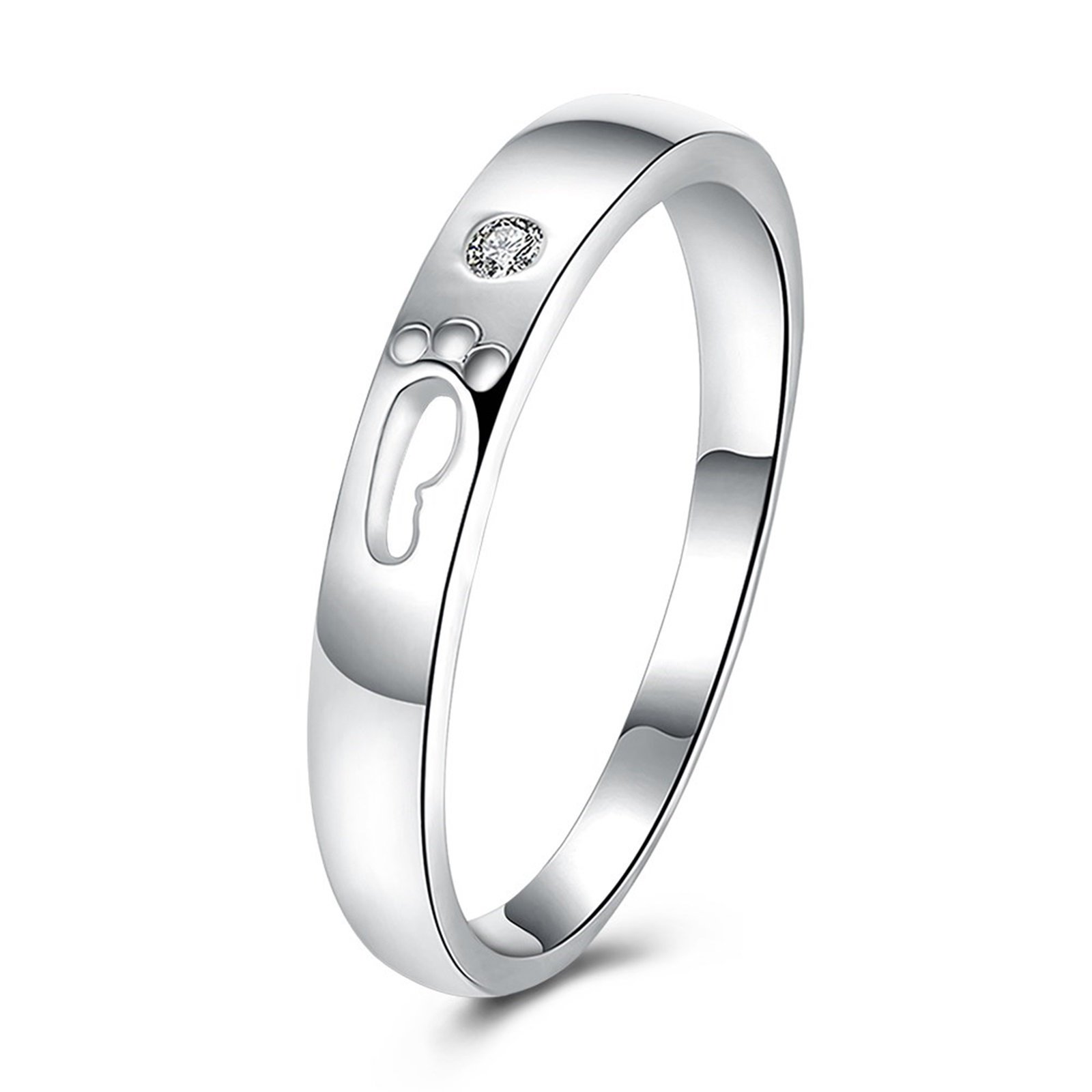 Epinki Women's Wedding Bands Silver Footprint Cubic Zirconia Ring Size 7 Men Accessories
