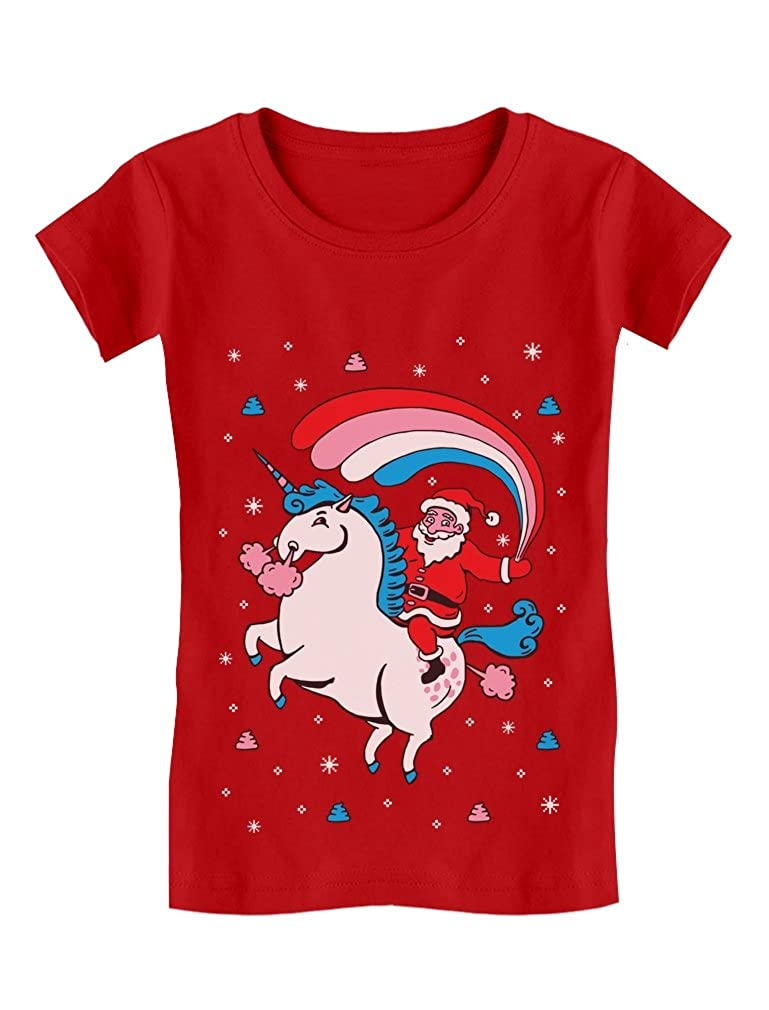 Santa Riding Unicorn Rainbow Ugly Christmas Girls' Fitted Kids T-Shirt GMPlhahgwm