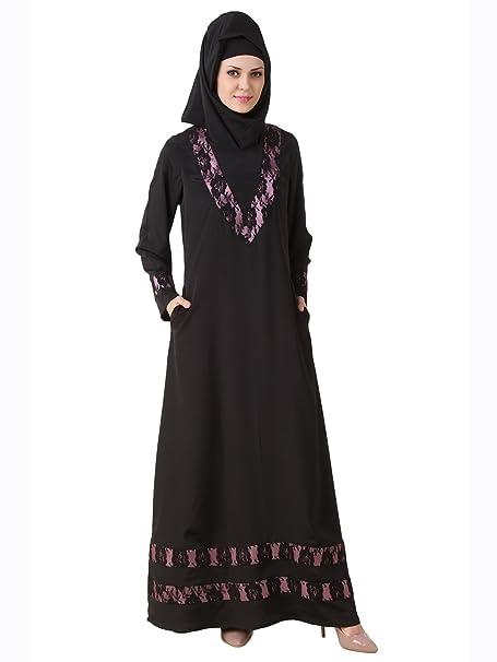 MyBatua Negro musulmanes burka islámico Vestido Formal Wear AY-488 (XS)
