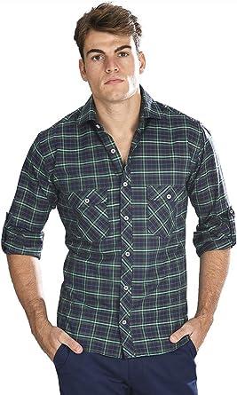 Camisa Sport Manga Larga semientallada con Cuadros tartán en Verde - 6_2XL, Verde Oscuro: Amazon.es: Ropa y accesorios