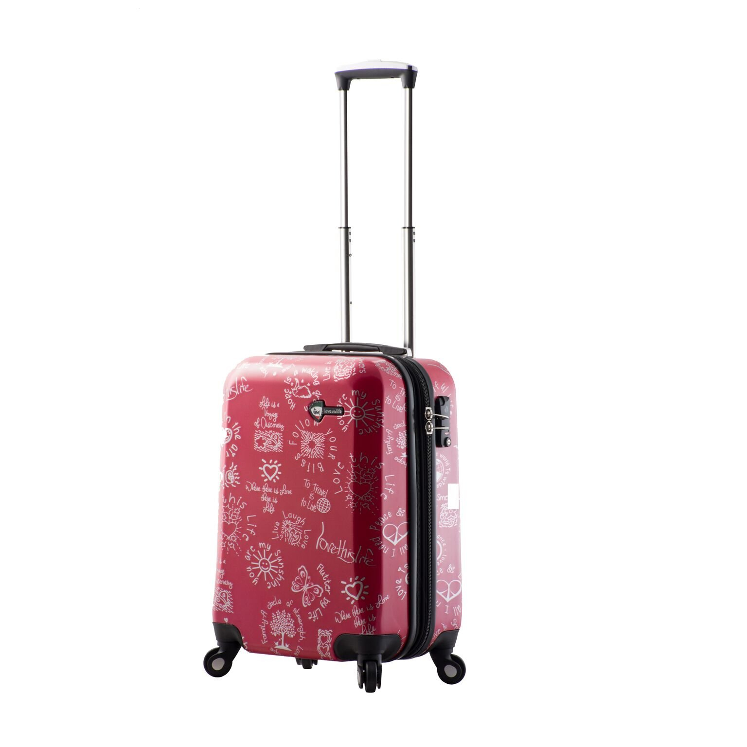 Mia Toro M1089-20in-Red Love This Life-Medallions Hardside Spinner Luggage 20'' Carry-on, Red