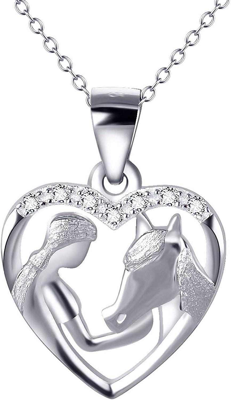 Colgante de plata de ley y circonitas y caballo Collares Joyería Mujer Regalo para el Día de la Madre Collar de