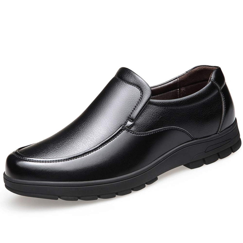 Koyi Zapatos de Cuero para Hombres Casuales de Mediana Edad Juegos de Zapatos para papá Zapatos de Suela Suave con Suela Gruesa cómodos Antideslizantes Resistentes al Desgaste Black