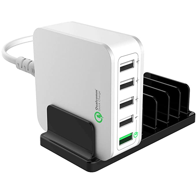 Fast Family 5 Port USB Travel Charger - Cruise Ship Accessories Must Have -  Portable Power Strip Outlets - For Hotel Rooms and Cruise Ships