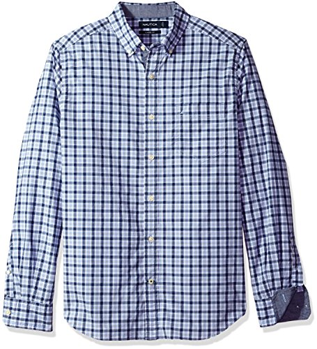 Nautica Men's Classic Fit Stretch Plaid Long Sleeve Button Down Shirt, Coastal Sky, X-Large