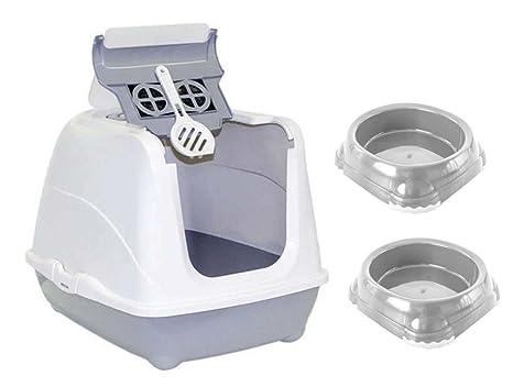 Bandeja sanitaria para gatos + 2 cuencos de 0,3 L + Cuenca con filtro
